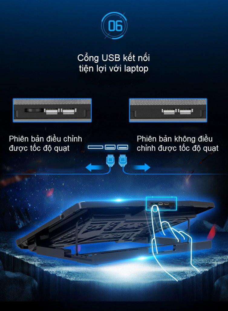 đế tản nhiệt laptop 6 quạt điều chỉnh có thể đỡ laptop