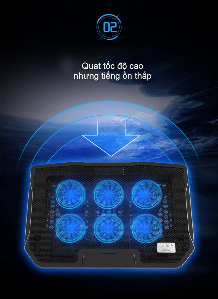 đế tản nhiệt laptop 6 quạt điều chỉnh