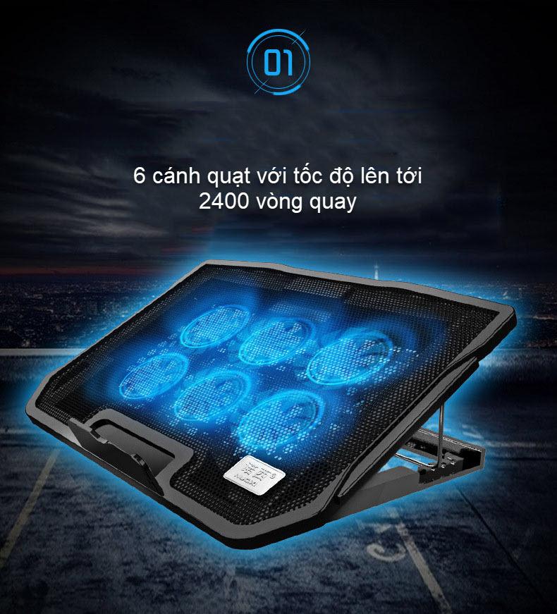 đế tản nhiệt laptop 6 quạt điều chỉnh spalaptop