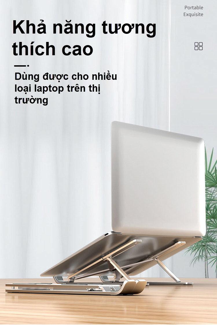 Giá đỡ laptop gấp gọn điều chỉnh 6 nấc hợp kim nhôm 5