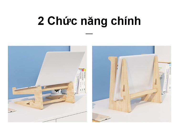 Giá đỡ laptop gỗ đa năng nguyên khối cao cấp tiện lợi 12