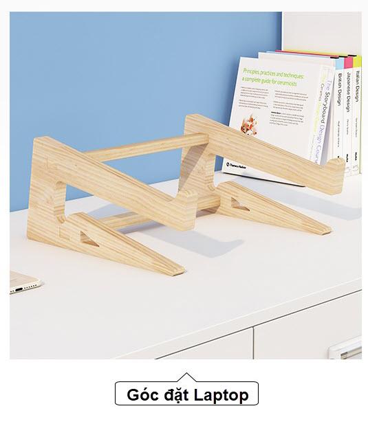 Giá đỡ laptop gỗ đa năng nguyên khối cao cấp tiện lợi 2
