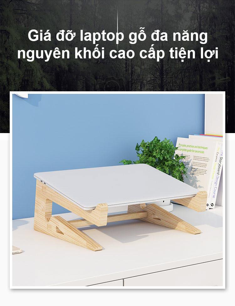 Giá đỡ laptop gỗ đa năng nguyên khối cao cấp tiện lợi 3