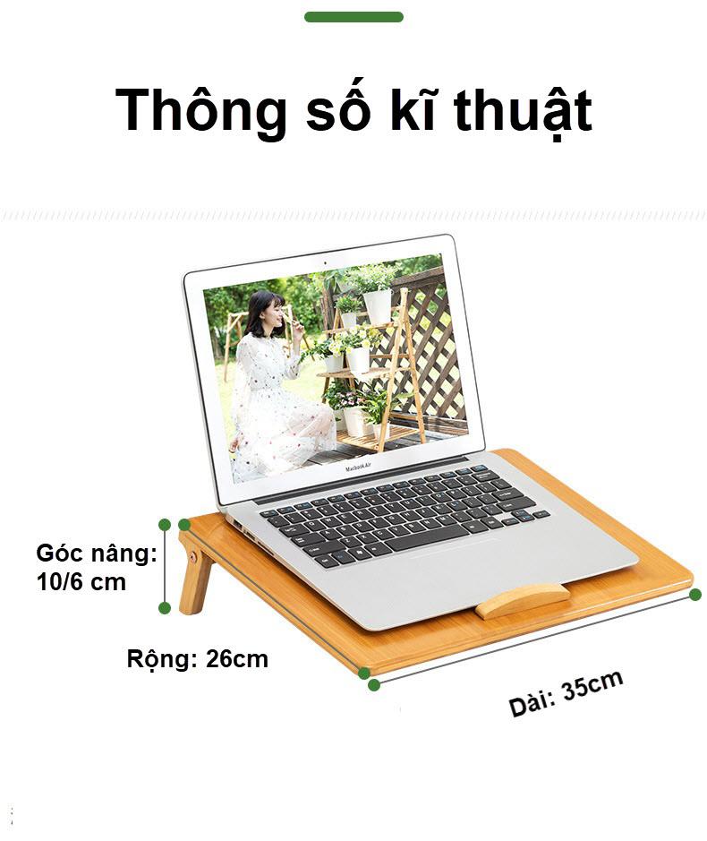 Giá đỡ laptop gỗ điều chỉnh tích hợp khe quạt tản nhiệt 1