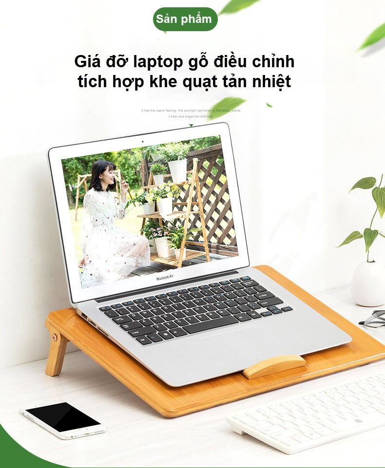 Giá đỡ laptop gỗ điều chỉnh tích hợp khe quạt tản nhiệt 10