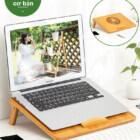 Giá đỡ laptop gỗ điều chỉnh tích hợp khe quạt tản nhiệt 2