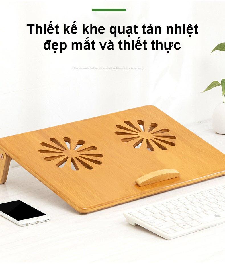 Giá đỡ laptop gỗ điều chỉnh tích hợp khe quạt tản nhiệt 3