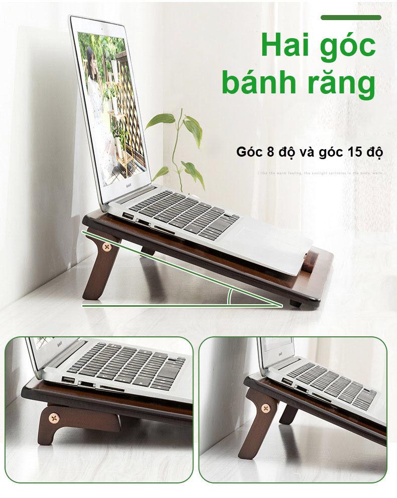 Giá đỡ laptop gỗ điều chỉnh tích hợp khe quạt tản nhiệt 7