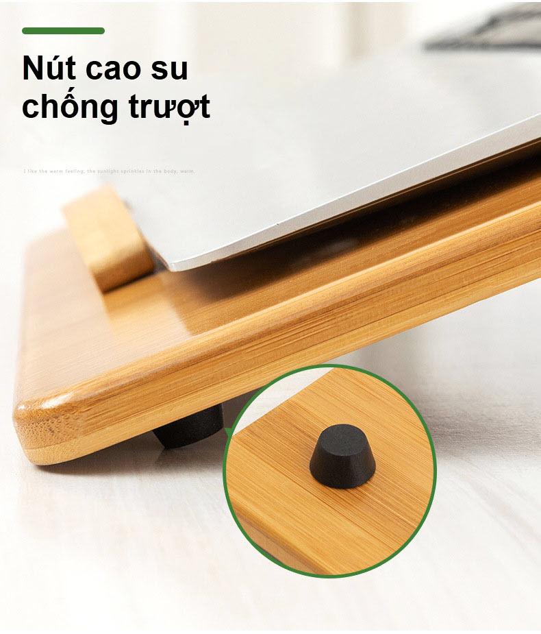 Giá đỡ laptop gỗ điều chỉnh tích hợp khe quạt tản nhiệt 8