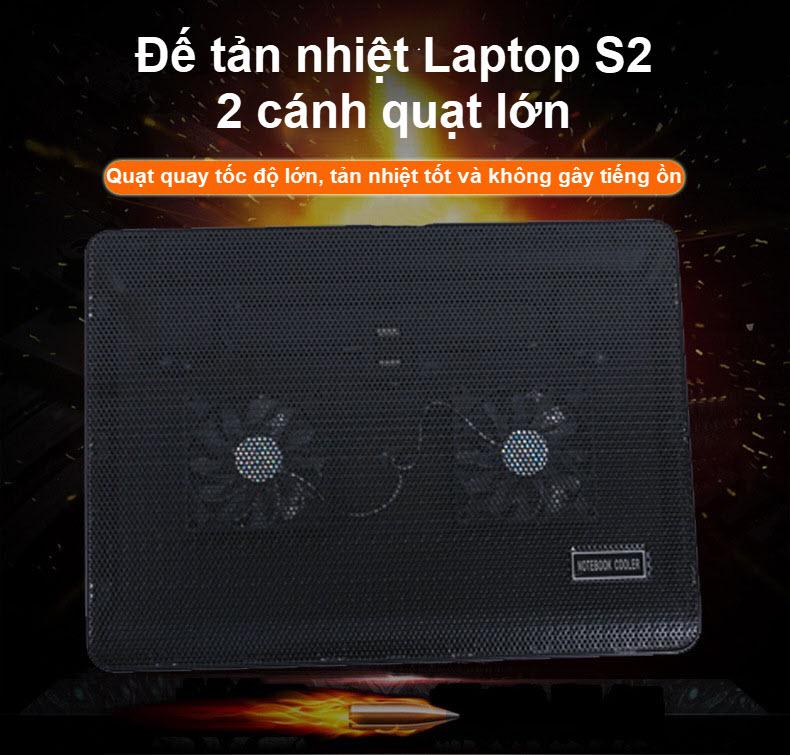 đế tản nhiệt laptop s2 2 cánh quạt lớn 1