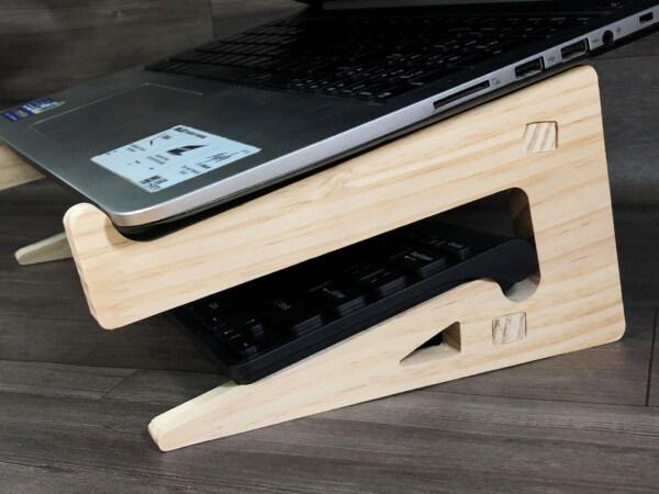 giá đỡ laptop gỗ 2 tầng